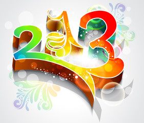 abstract colorful new year background with floral