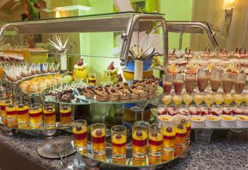 Dessert buffet in a hotel
