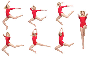 Dance Pack of Beautiful Blond Girl Isolated