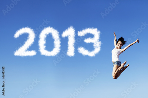 Embracing new year 2013 by jumping