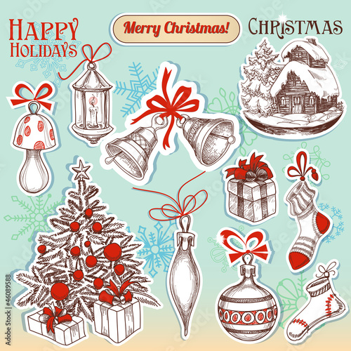 Christmas hand drawn symbols and stickers set