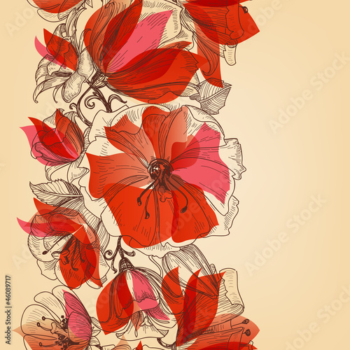 Tuinposter Abstract bloemen Red flowers seamless pattern in retro style