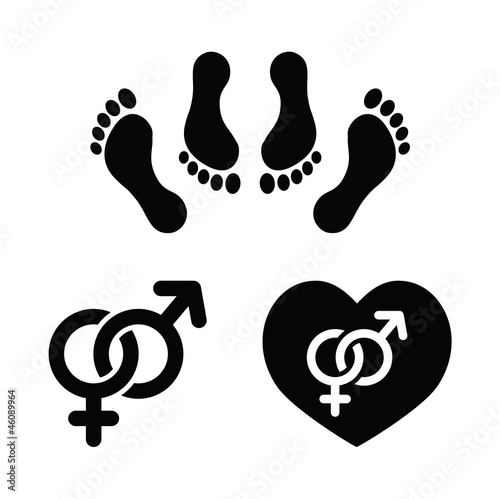 Couple sex, making love icons set