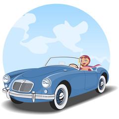 Chica conduciendo un coche descapotable antiguo