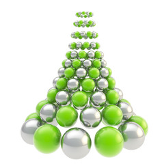 Futuristic christmas tree made of spheres isolated on white