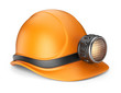Miner helmet with lamp. 3D Icon isolated on white background