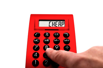 Red calculator with Cheap - lettering