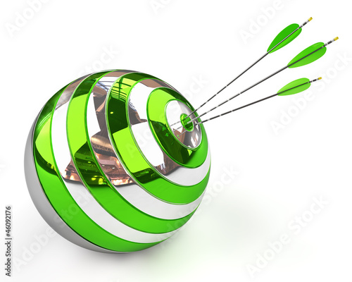 Spherical target and arrows isolated on white