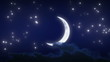 Beautiful New Moon with Stars and Clouds. Looped animation