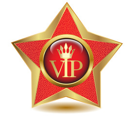 Gold star VIP icon.Vector
