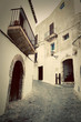 Architecture of old city of Ibiza, Spain. Retro photo