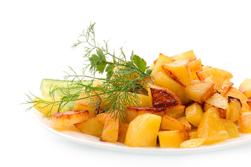 homemade food: salads and grilled potato