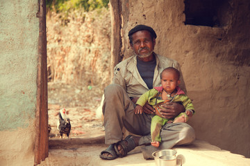 Indian poor father and son