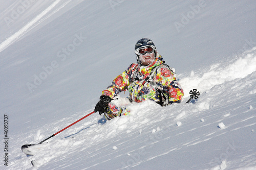 Skier crashes in the snow