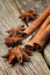 Star anise was placed on top of the wooden board