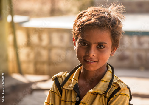 Bright eyes of happy Indian child