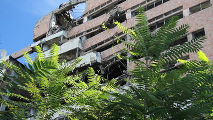 Army General Headquarters building bombed by NATO - Belgrade