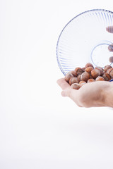 hazelnuts in plate