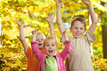 Kinderfreude, leuchtendes Laub und Herbstsonne