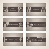 Fototapety Set of 6 business cards. For cafe and restaurant
