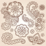 Henna Paisley Mandala Tattoo Doodle Vector Design Elements Set