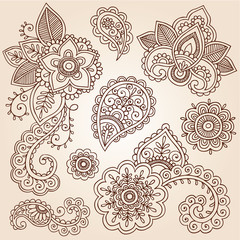 Henna Paisley Tattoo Mandala Doodles Vector Design Elements