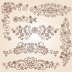 Henna Paisley Tattoo Doodle Vector Design Elements