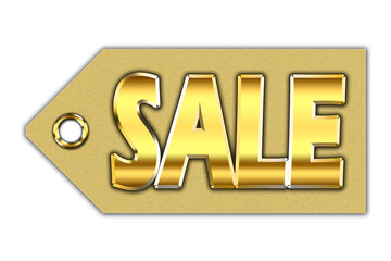 Word sale, written on golden tag