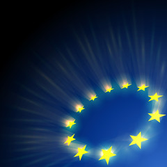 European Union stars glare on dark blue background.