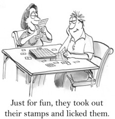 They took out their stamps and licked them