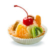 Delicious pastry with caramelized fruits and cream isolated