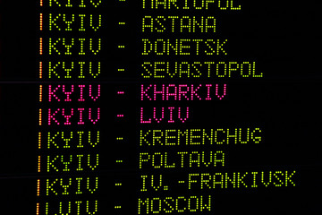 Timetable at the Ukrainian railway station