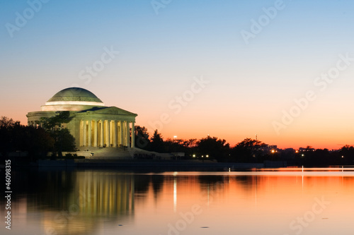 Urban peace. Jefferson Memorial at sundown. Washington DC.