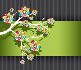 Stylized Tree with Colorful Blossoms