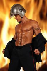 pompier et le feu