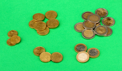euro coins on color background