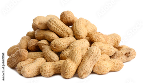 tasty peanuts, isolated on white