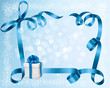 Holiday background with blue gift bow with box.
