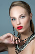 Beautiful woman with evening make-up. Jewelry and Beauty. Fashio