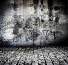 Ściana dolna i zniszczonych nawierzchni ulic