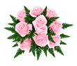 Bouquet of pink roses with fern. Vector illustration.