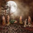 Krąg skał z czaszkami i świecami