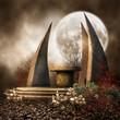 Starożytny ołtarz z czaszkami na tle księżyca