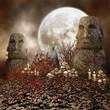 Starożytne posągi z czaszkami i świecami