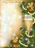 Fototapety Merry Christmas greeting card with champagne