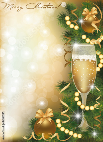 Merry Christmas greeting card with champagne