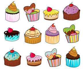 fancy cup cake hand drawn