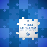 blue christmas puzzle card
