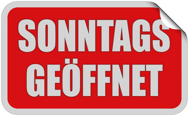 Sticker rot eckig oc SONNTAGS GEÖFFNET