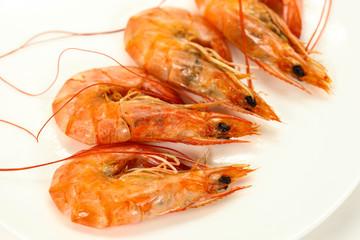 boiled shrimps on white background